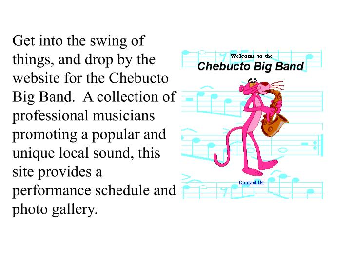 Get into the swing of things, and drop by the website for the Chebucto Big Band.  A collection of professional musicians promoting a popular and unique local sound, this site provides a performance schedule and photo gallery.