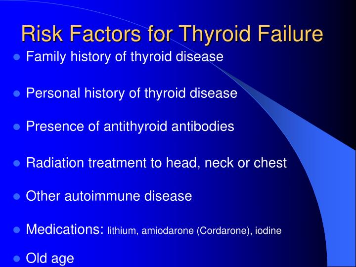 Risk Factors for Thyroid Failure