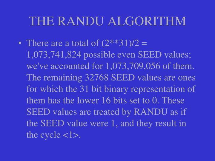 THE RANDU ALGORITHM