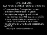 dpe and mte two newly identified promoter elements