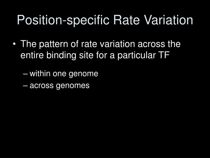 Position-specific Rate Variation