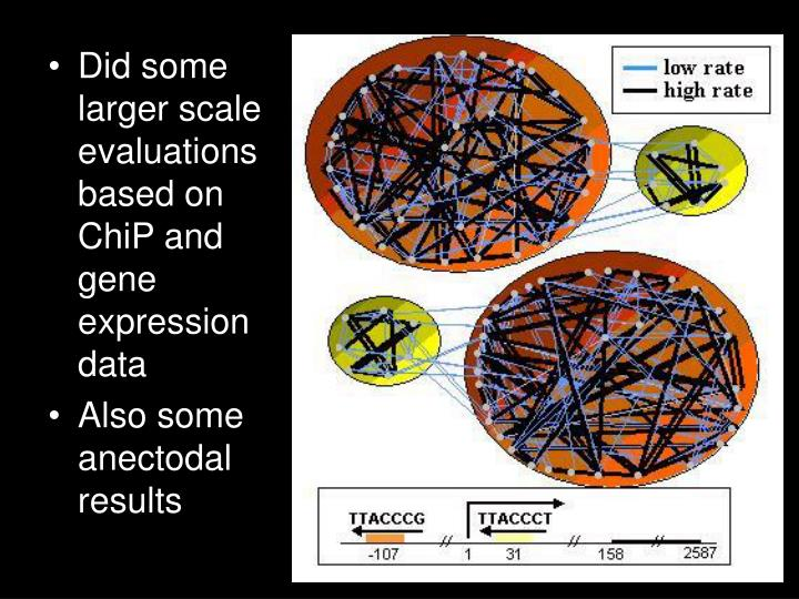 Did some larger scale evaluations based on ChiP and gene expression data