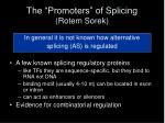 the promoters of splicing rotem sorek