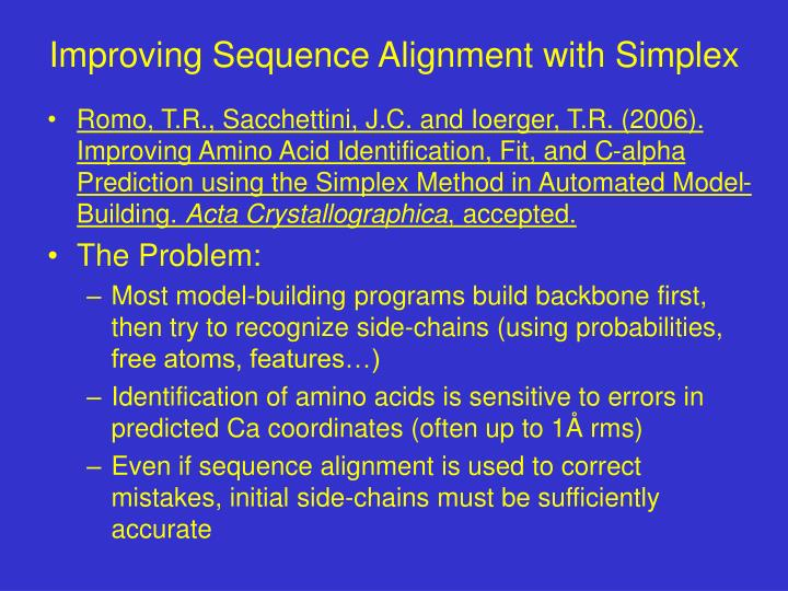 Improving Sequence Alignment with Simplex