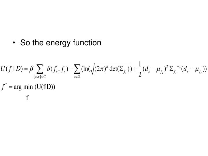 So the energy function