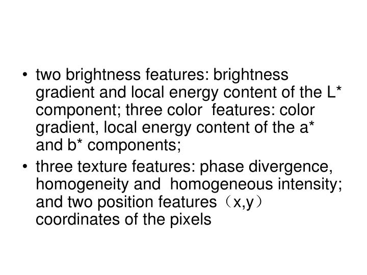 two brightness features: brightness gradient and local energy content of the L* component; three color  features: color gradient, local energy content of the a* and b* components;