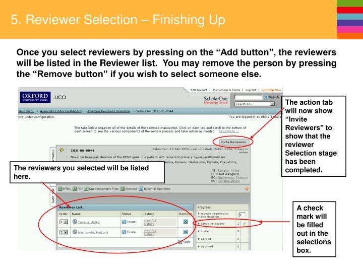 5. Reviewer Selection – Finishing Up