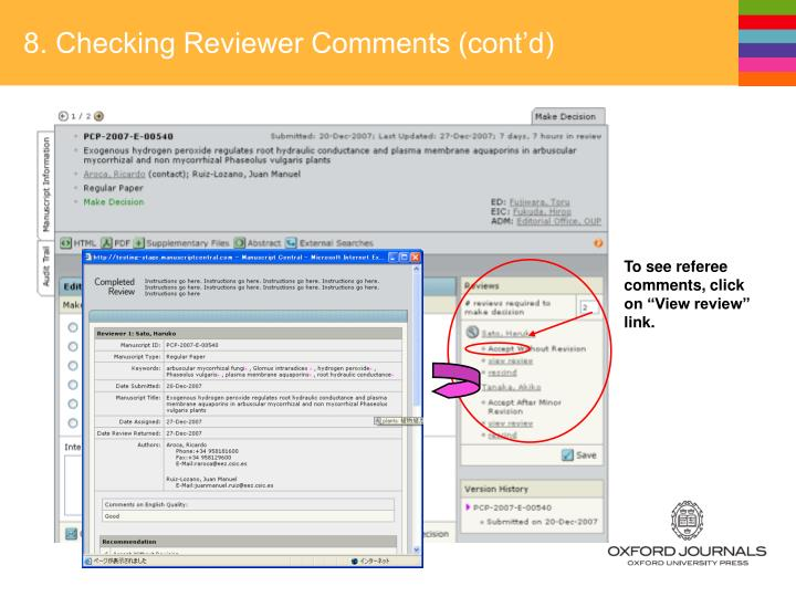 8. Checking Reviewer Comments (cont'd)