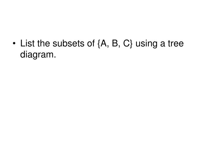 List the subsets of {A, B, C} using a tree diagram.