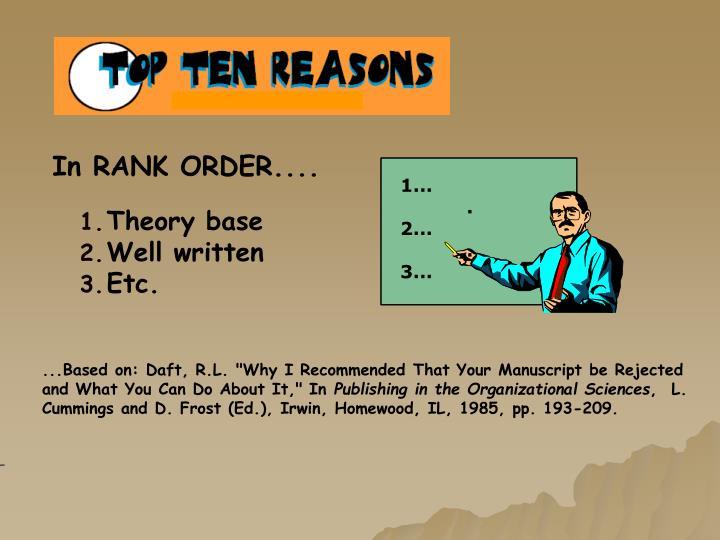 In RANK ORDER....