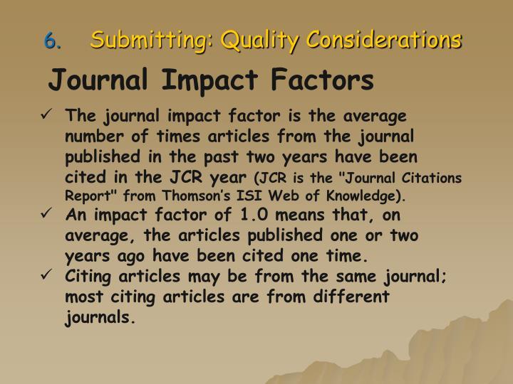 Journal Impact Factors