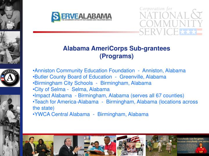 Alabama AmeriCorps Sub-grantees