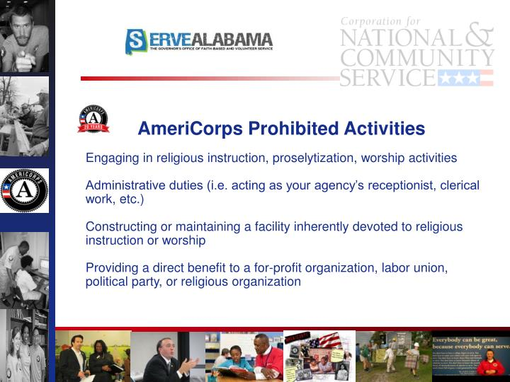 AmeriCorps Prohibited Activities