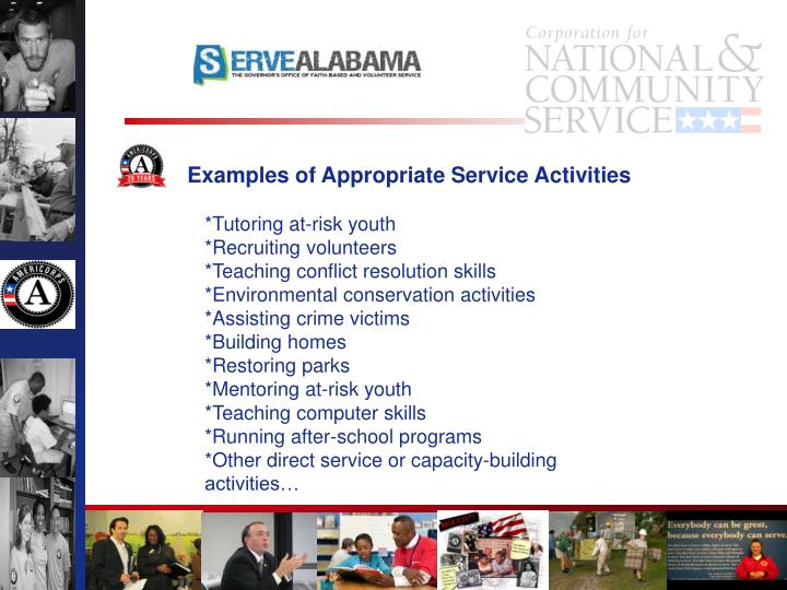Examples of Appropriate Service Activities