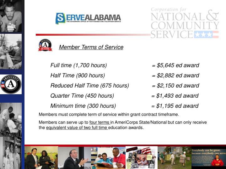 Full time (1,700 hours) = $5,645 ed award