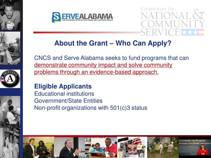 About the Grant – Who Can Apply?