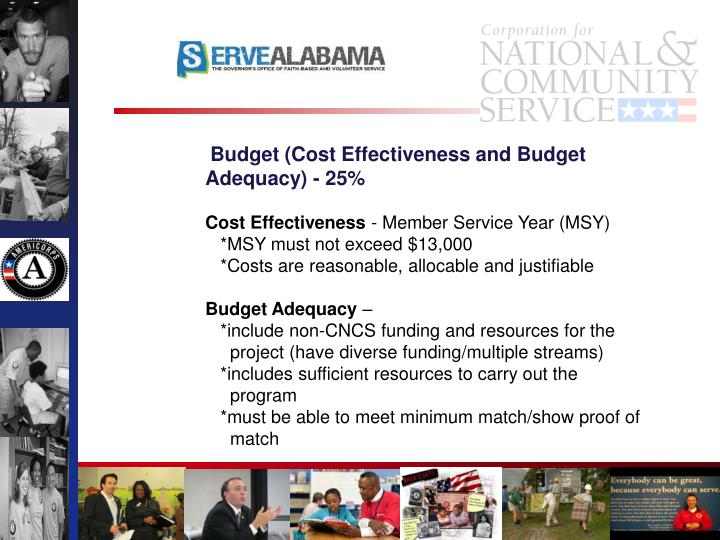 Budget (Cost Effectiveness and Budget Adequacy) - 25%