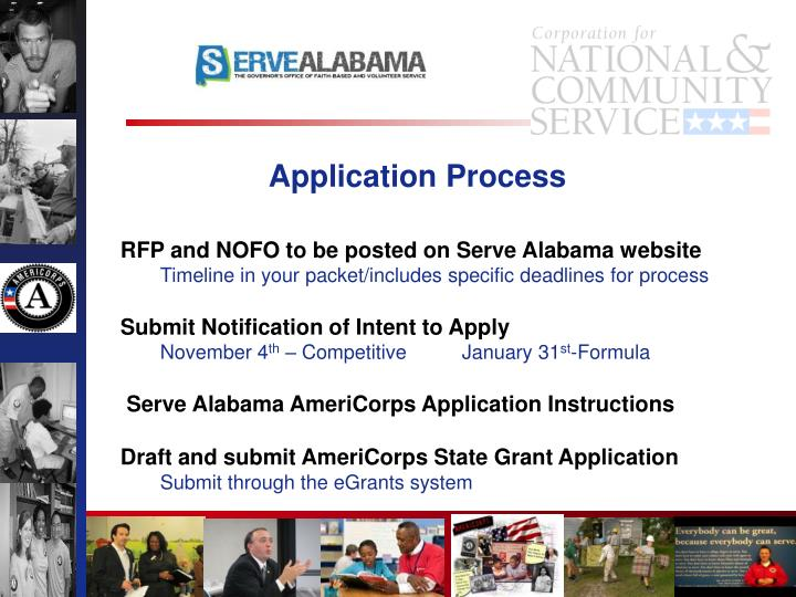 RFP and NOFO to be posted on Serve Alabama website