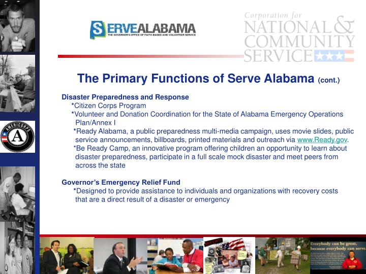 The Primary Functions of Serve Alabama