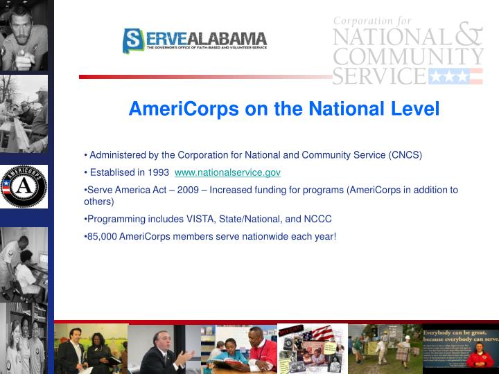 AmeriCorps on the National Level