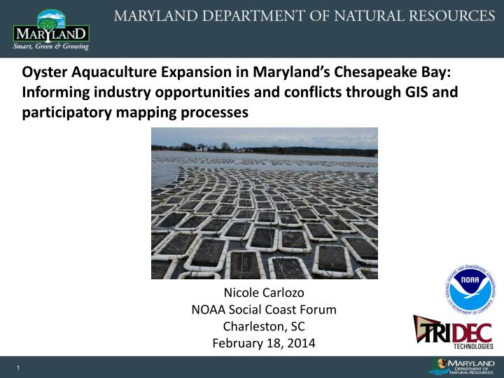 Oyster Aquaculture Expansion in Maryland's Chesapeake Bay: Informing industry opportunities and co...