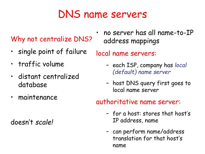 no server has all name-to-IP address mappings
