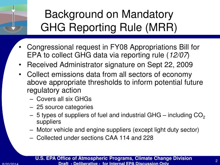 Background on mandatory ghg reporting rule mrr