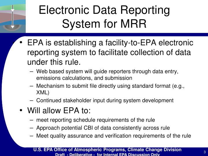 Electronic data reporting system for mrr