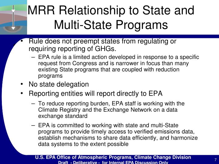 MRR Relationship to State and Multi-State Programs