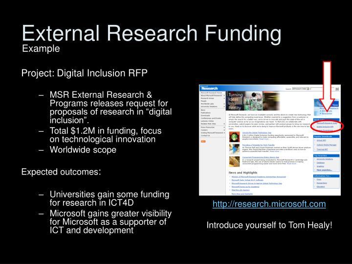 External Research Funding