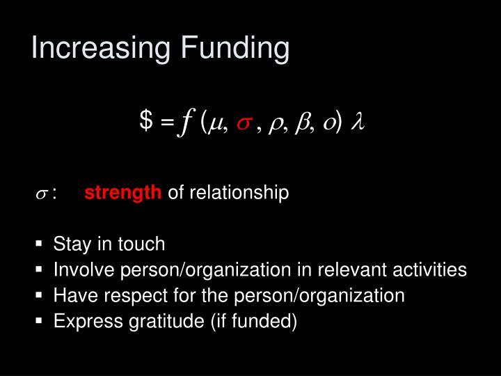 Increasing Funding