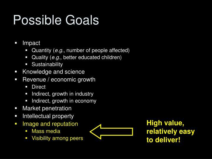 Possible Goals