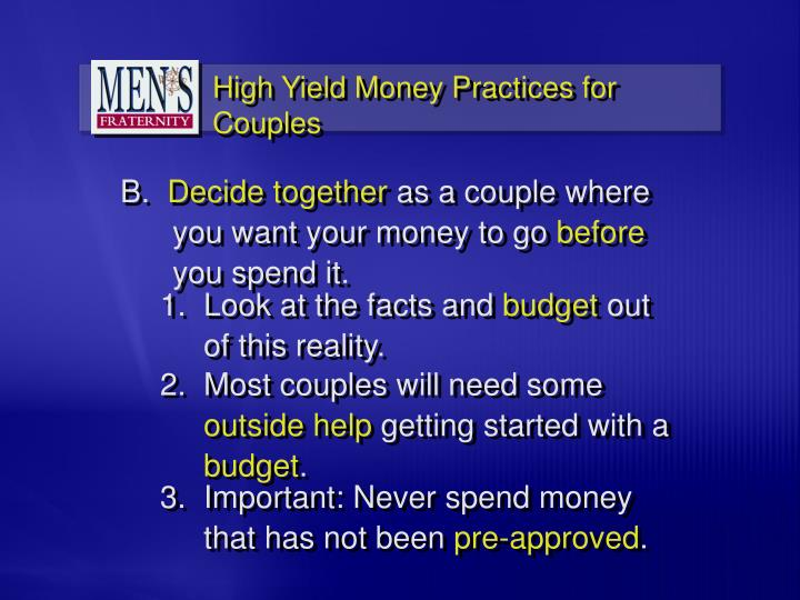 High Yield Money Practices for Couples