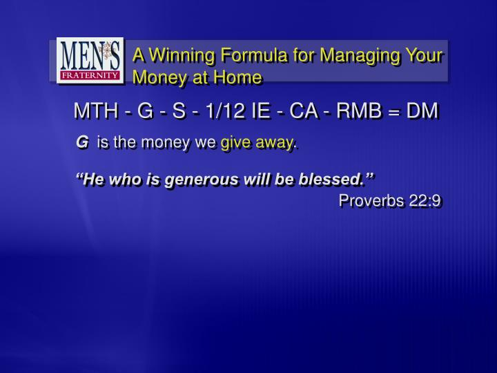 """""""He who is generous will be blessed."""""""