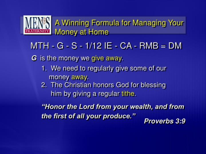 """""""Honor the Lord from your wealth, and from the first of all your produce."""""""
