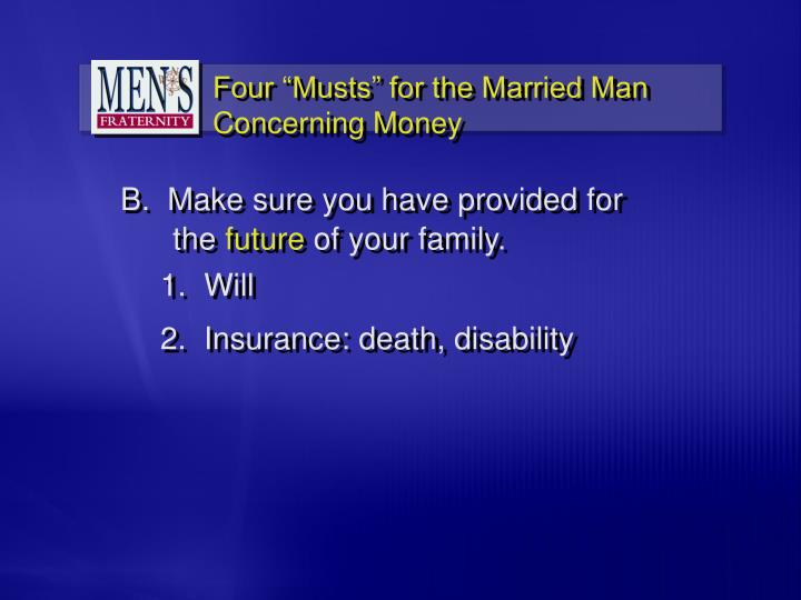 """Four """"Musts"""" for the Married Man Concerning Money"""