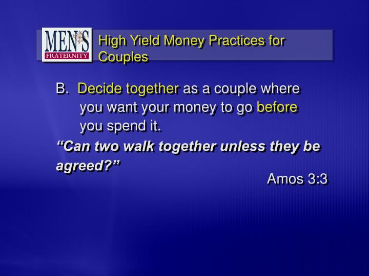 """""""Can two walk together unless they be agreed?"""""""