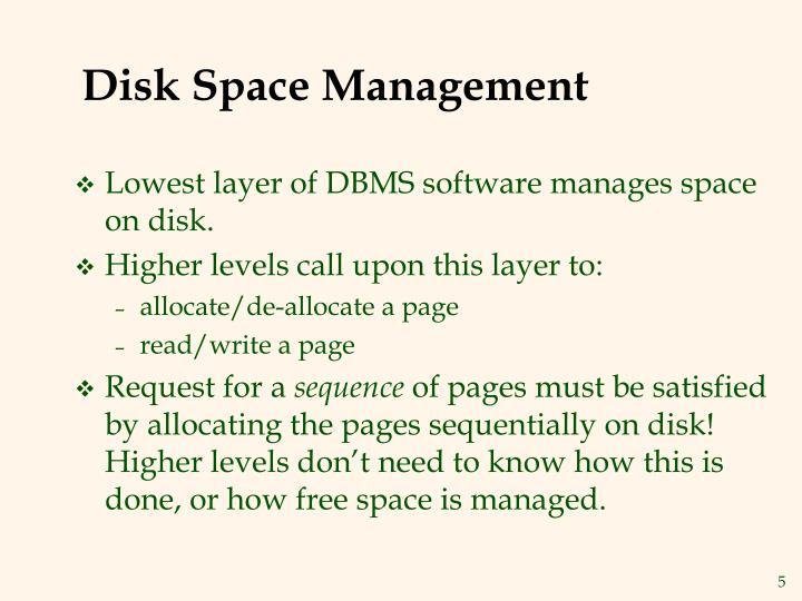 Disk Space Management