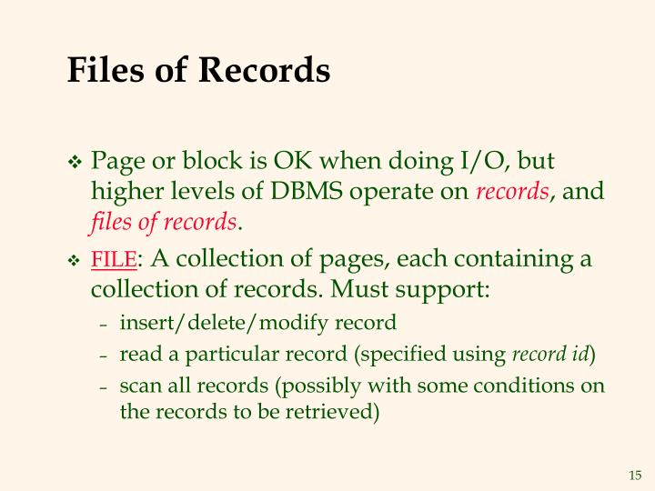 Files of Records