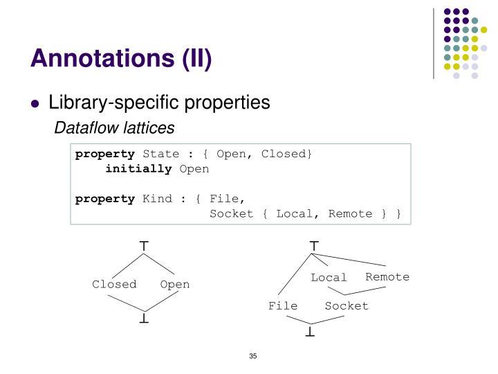 Annotations (II)