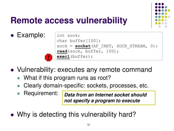 Remote access vulnerability