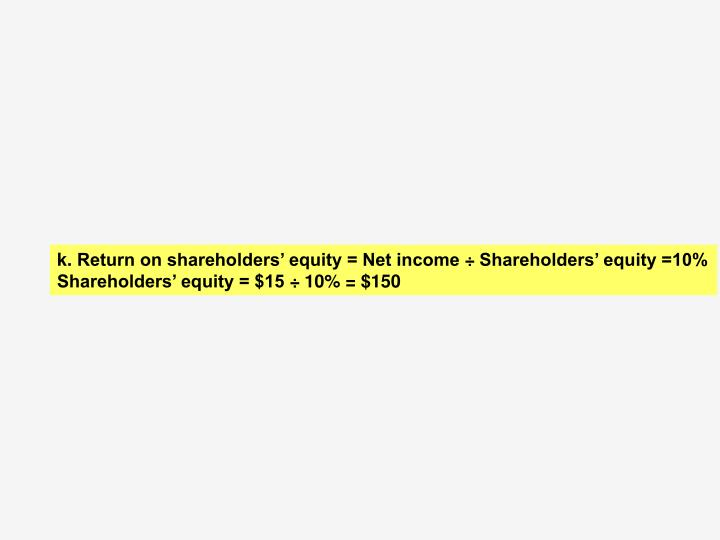 k. 	Return on shareholders' equity = Net income ÷ Shareholders' equity =10%