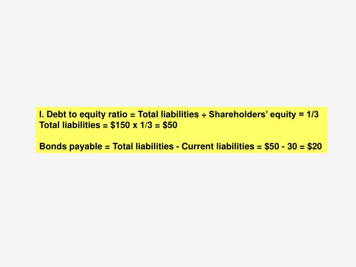 l. Debt to equity ratio = Total liabilities ÷ Shareholders' equity = 1/3