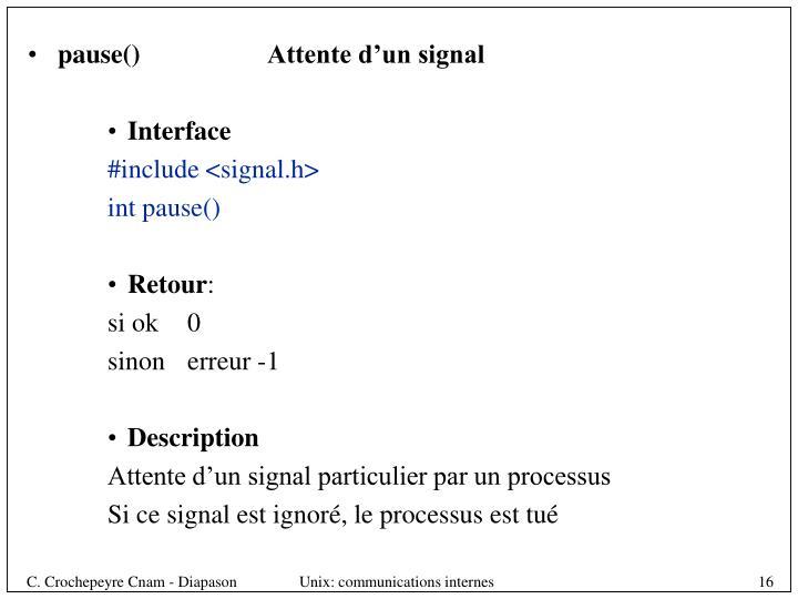 pause()Attente d'un signal