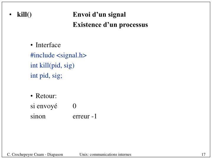 kill()Envoi d'un signal