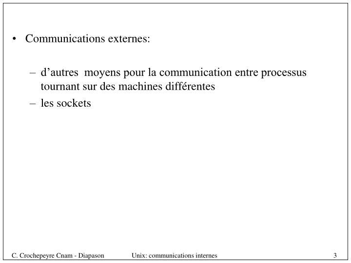 Communications externes: