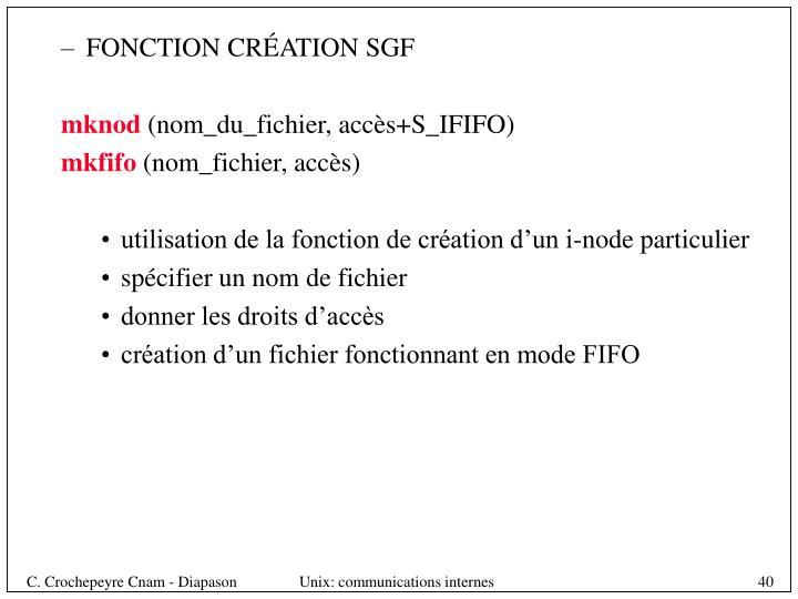 FONCTION CRÉATION SGF