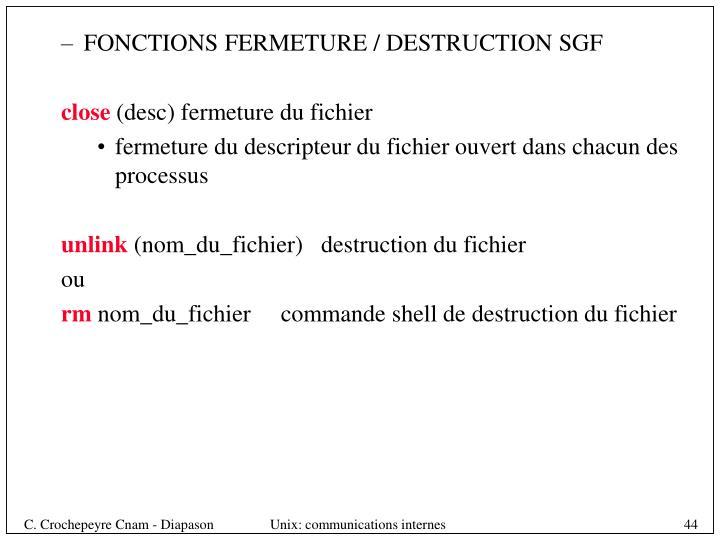 FONCTIONS FERMETURE / DESTRUCTION SGF