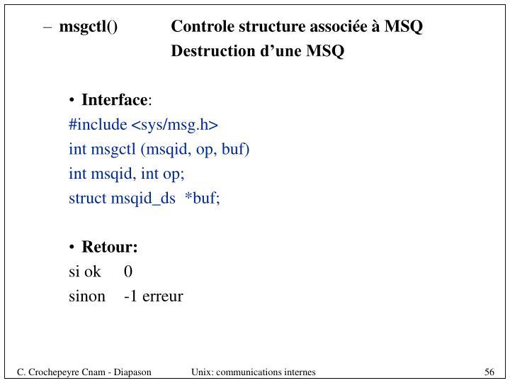 msgctl()       Controle structure associée à MSQ