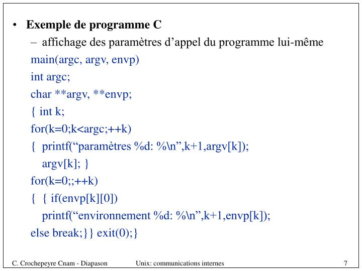 Exemple de programme C